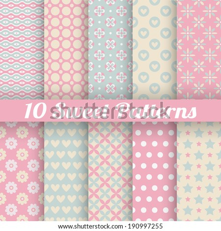 10 Sweet cute vector seamless patterns (tiling). Pink and blue shabby color. Endless texture can be used for printing onto fabric and paper or scrap booking. Flower, heart, dot, wave abstract shapes. - stock vector
