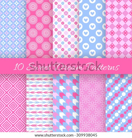 10 Sweet dream seamless patterns. Vector illustration for fashion design. Pink, white and blue color. Endless texture for printing onto fabric and paper or scrap booking. Pretty cute wallpaper. - stock vector