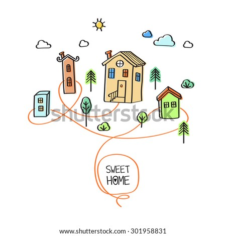 Sweet home. Vector abstract illustration of houses and roads on white background - stock vector