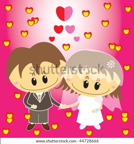 'Sweet Wedding Couple Hearts Vector'