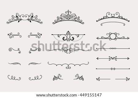 Swirls Dividers Set Vintage Headers Calligraphy Stock Vector 449155147