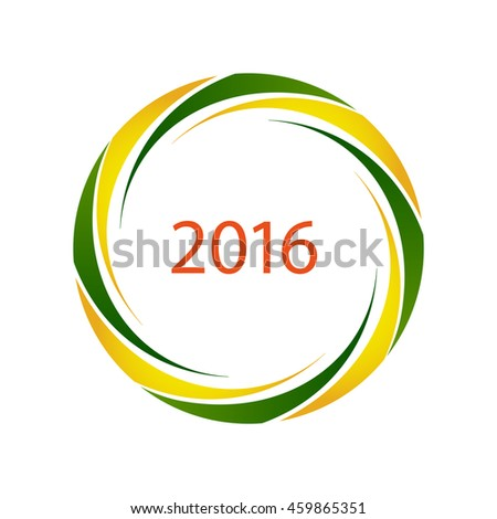 2016 symbol with Brazilian flag colors, vector - stock vector