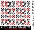 13 symbols of cigarettes, 52 round signs, vector illustration - stock photo