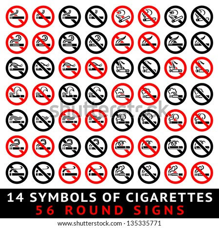 13 symbols of cigarettes, 52 round signs, vector illustration - stock vector