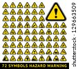 72 symbols triangular warning hazard. Big yellow set - stock photo