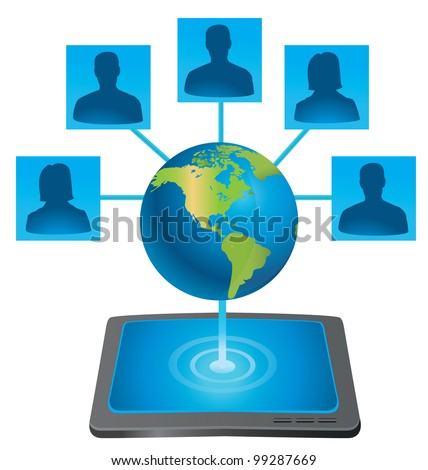tablet pc connecting with world - vector illustration - stock vector