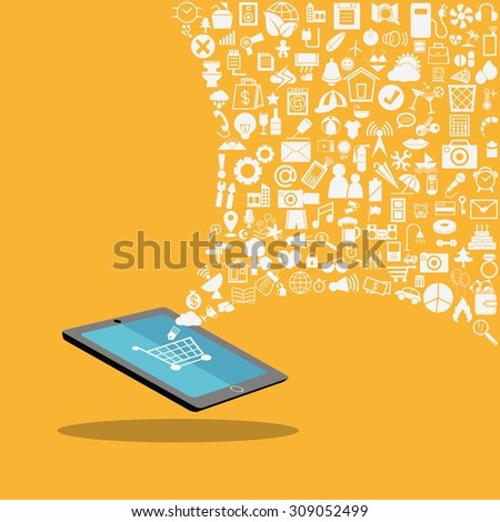 Tablet with application social, media, web icons
