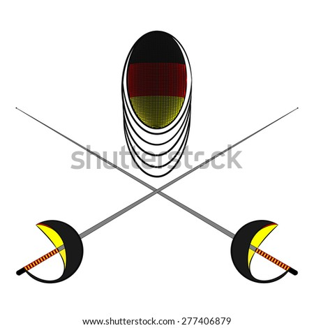 Team Germany. Sports fencing protective mask  with the image of a flag of Germany and a sword to attack. The symbol for fencing of  Germany. - stock vector