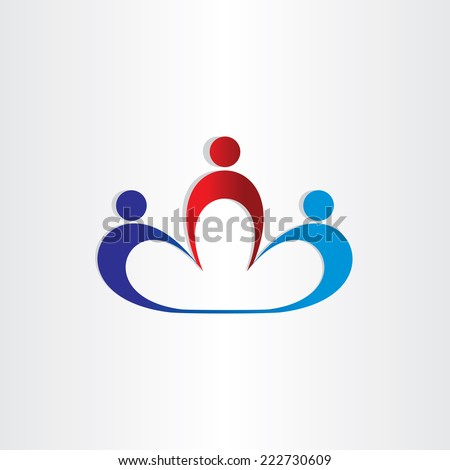 teamwork workers in office symbol - stock vector