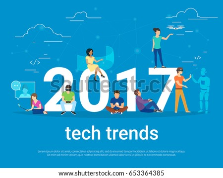 2017 tech trends concept illustration of young people using modern technologies such as virtual reality helmet, gadgets for augmented reality and remote controlled drone. Flat people and future apps