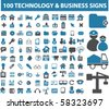100 technology & business signs. vector - stock vector