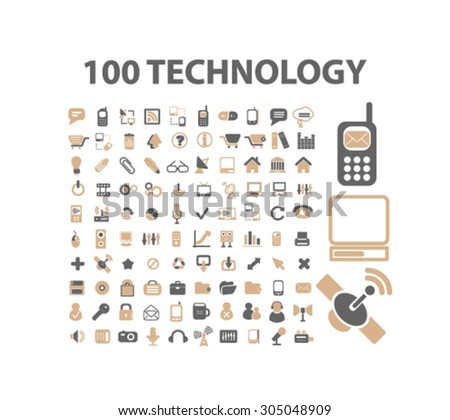 100 technology, communication, connection, internet, network icons, signs set, vector - stock vector