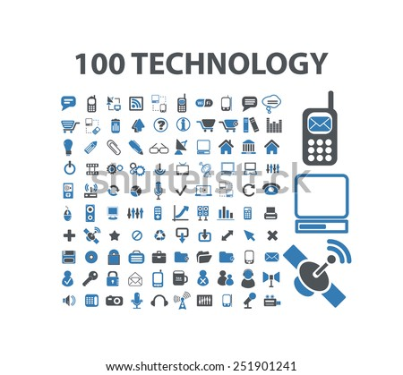 100 technology, communication, gadget concept flat isolated icons, signs, illustrations vector set on background - stock vector