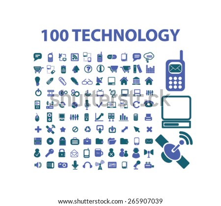 100 technology, communication icons, signs, illustrations design concept set for appliciation, website, vector on white background - stock vector