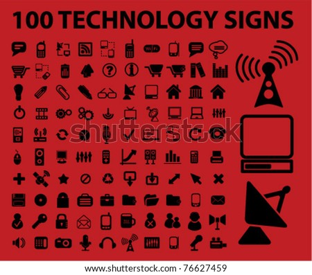 100 technology icons, signs, vector illustrations