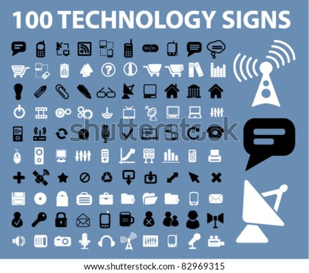 100 technology signs, icons, vector - stock vector