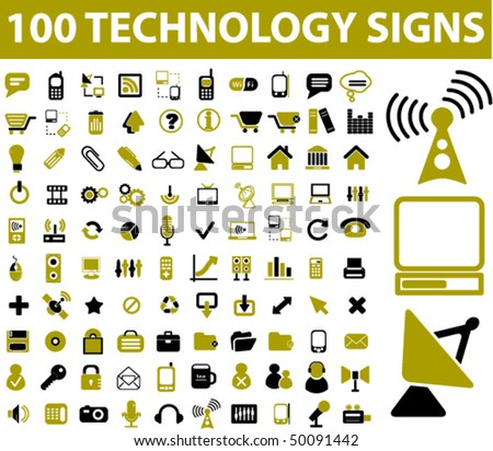 100 technology signs. vector
