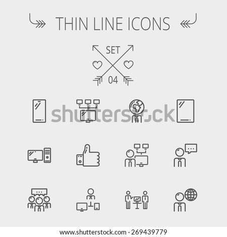Technology thin line icon set for web and mobile. Set includes - Mobile phone, gadget, computer, CPU, global. Modern minimalistic flat design. Vector dark grey icon on light grey background. - stock vector
