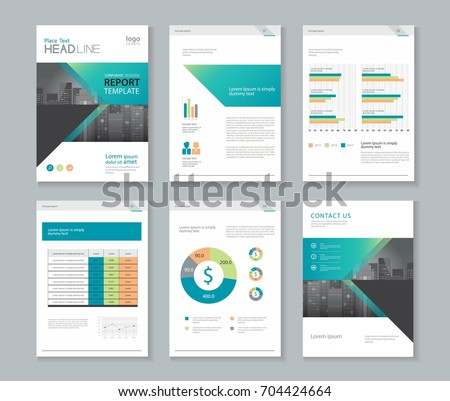 Template design company profile annual report stock vector for 4 page brochure template