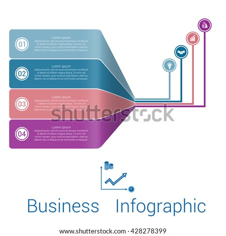 Template Infographic Lines Strips Perspective four position.  - stock vector