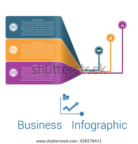 Template Infographic Lines Strips Perspective three position.  - stock vector