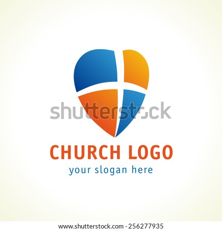 Template logo for churches and Christian organizations cross on the heart. Cross on the heart church logo - stock vector