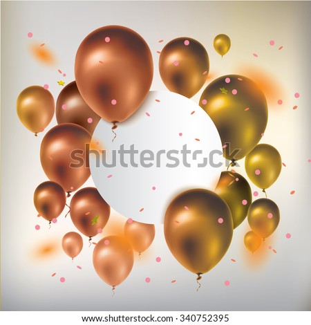 Text box banner with gold balloons and confetti. Greeting card. Vector illustration