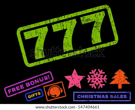 777 text rubber seal stamp watermark with additional bonus new year symbols. Caption inside rectangular shape with grunge design and scratched texture.