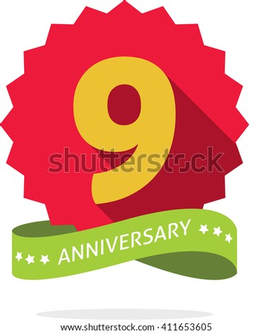 9th anniversary badge with shadow on red starburst and yellow number 9 (nine). 9 years anniversary icon. Ninth years symbol, ribbon, vector emblem isolated on white  - stock vector