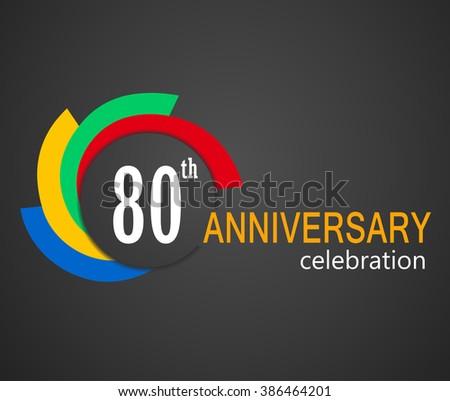 80 Year Birthday Celebration Label 80th Stock Vector ...