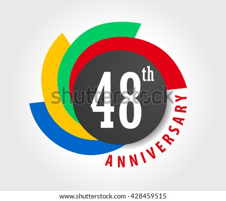 48th Anniversary celebration background, 48 years anniversary card illustration - vector eps10