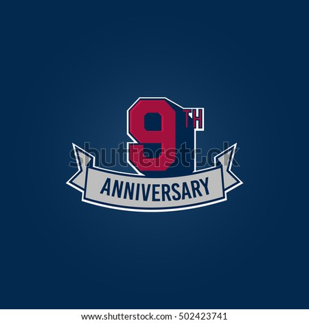 9th Anniversary Celebration Logo using 3d Number, Red Colored Isolated in Blue Background. Retro Style
