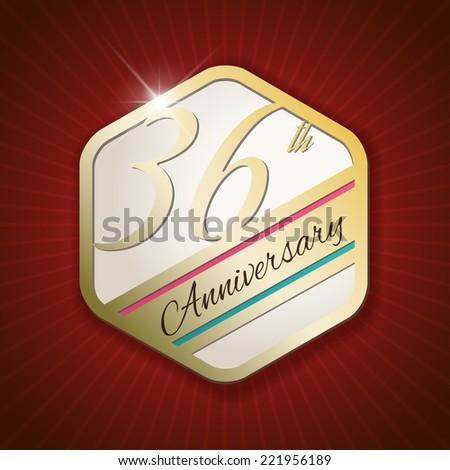36th Anniversary - Classy and Modern golden emblem / Seal / Badge - vector illustration on read rays background