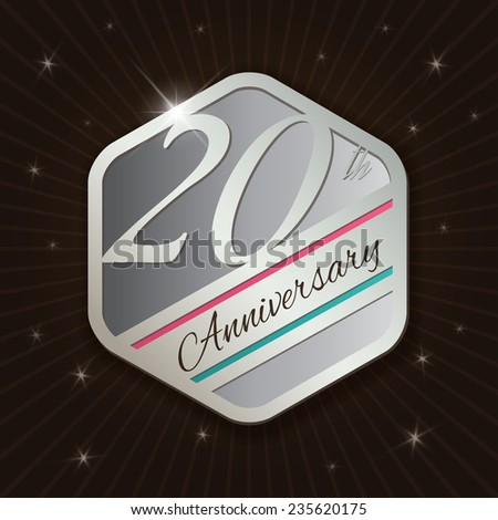 20th Anniversary - Classy and Modern silver emblem / Seal / Badge - vector illustration on  rays and stars background  - stock vector