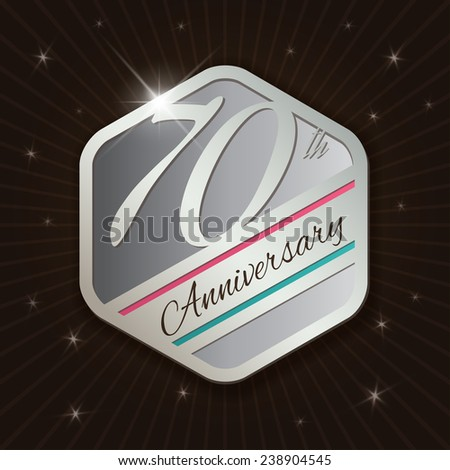 70th Anniversary - Classy and Modern silver emblem / Seal / Badge - vector illustration on  rays and stars background
