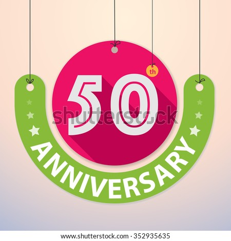 50th Anniversary - Colorful Badge, Paper cut-out - stock vector