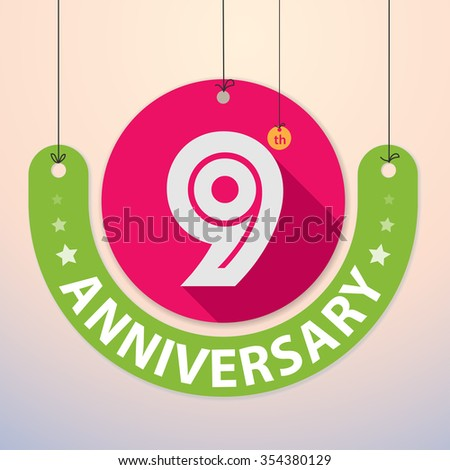 9th Anniversary - Colorful Badge, Paper cut-out - stock vector