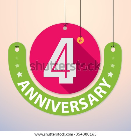4th Anniversary - Colorful Badge, Paper cut-out - stock vector