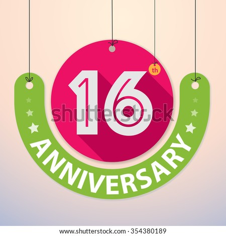 16th Anniversary - Colorful Badge, Paper cut-out - stock vector