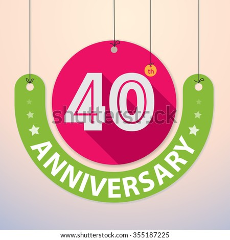 40th Anniversary - Colorful Badge, Paper cut-out - stock vector