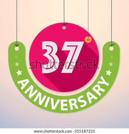 37th Anniversary - Colorful Badge, Paper cut-out - stock vector