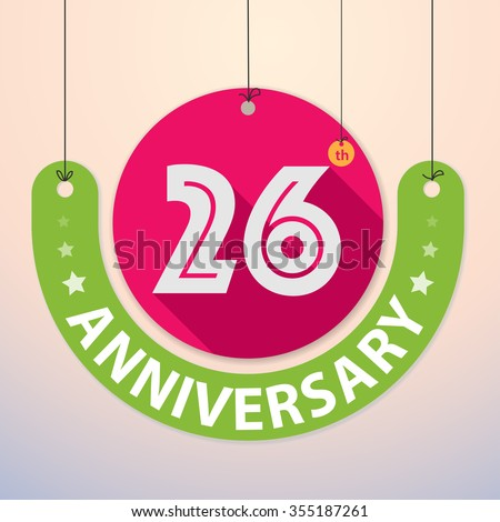 26th Anniversary - Colorful Badge, Paper cut-out - stock vector