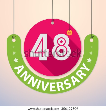 48th Anniversary - Colorful Badge, Paper cut-out - stock vector