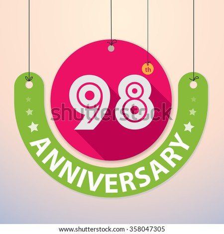98th Anniversary - Colorful Badge, Paper cut-out - stock vector