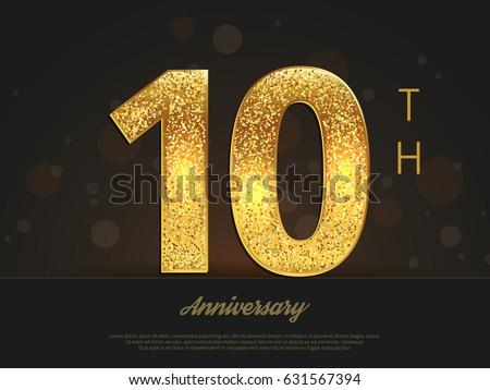 Th anniversary decorated greetinginvitation card template stock