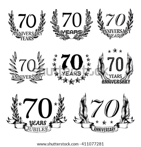 70th anniversary emblems set. Collection of hand drawn jubilee signs with wreath. Celebration badges in sketch style.