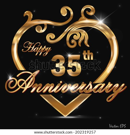 35th Anniversary Golden Pattern Design 35 Stock Photo Photo Vector
