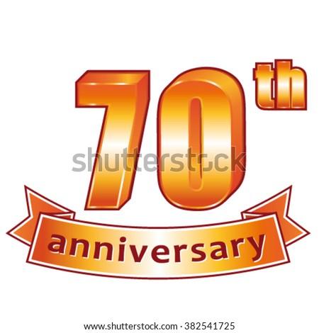 70th anniversary. Golden vector label. - stock vector