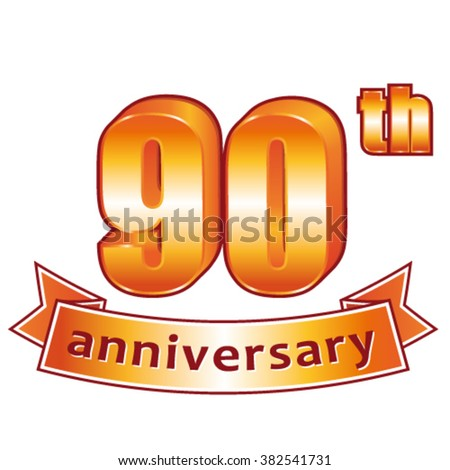 90th anniversary. Golden vector label. - stock vector