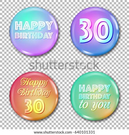 30th Anniversary Icons Set Happy Birthday Stock Vector 640101331